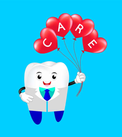 Cute cartoon tooth Dentist with heart shape balloons.  6 March,  World Dentist Day concept. Illustration isolated on blue background. Ilustracja