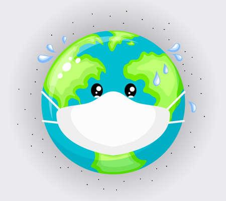 Triste planeta tierra con máscaras protectoras. Concepto de contaminación ambiental. Polvo fino, contaminación del aire, smog industrial, emisión de gases contaminantes. Ilustración vectorial. Ilustración de vector