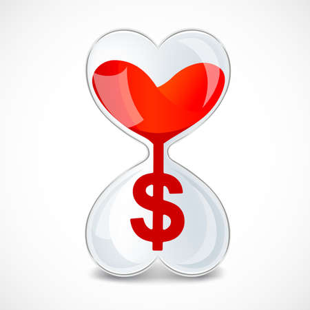 Hourglass in heart shape with dollar sign. Sandglass and money sign. Time and money logotype. Vector illustration.