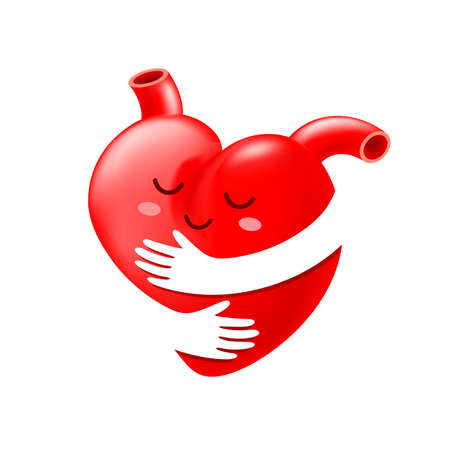 Red heart with hand embrace. human organ cartoon caracther. icon design. Health care concept. World heart day. Illustration isolated on white background.