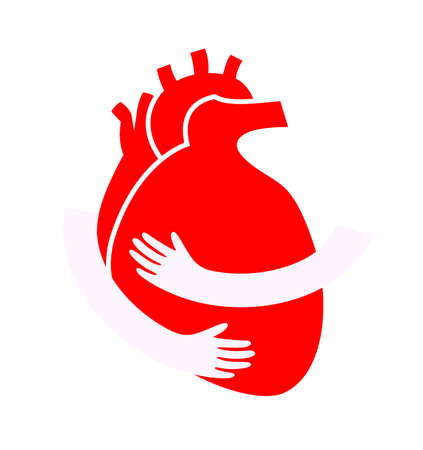 Hands embrace human heart. Flat style, icon design. Health care concept. World heart day. Illustration isolated on white background.