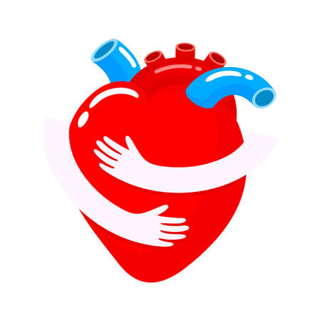 Red heart with hand embrace. Human organ icon design. Health care concept. World heart day. Illustration isolated on white background. Banco de Imagens - 125955212