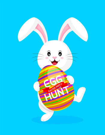 Cute rabbit holding Easter egg. Special offer for Easter. Easter eggs hant, illustration isolated on blue background. Great for your design of poster, greeting card and banner. Ilustração