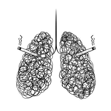 Hand drawn style doodle lung smoking. Health care concept. Vector illustration isolated on white background.
