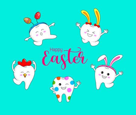 Bunny tooth and hen tooth. Cute cartoon character design. Happy Easter day. Vector Illustration isolated on blue background.
