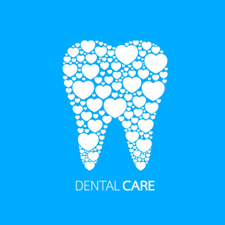 White heart shape fill in tooth,  icon design. Flat style. Dental care concept. Vector illustration isolated on blue background.