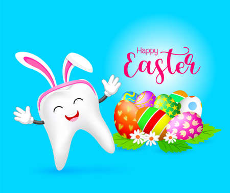 Bunny tooth character with Easter eggs. Dental Easter, illustration isolated on blue background.