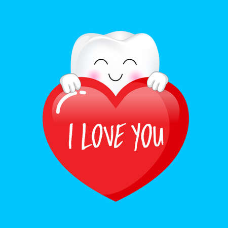 Cute cartoon tooth character holding a heart. I love you, Valentine's day concept. Illustration isolated on blue background. Ilustração