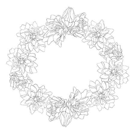 Hermoso dibujo monocromo, flor blanco y negro. Figura circular. Ilustración de vector aislado sobre fondo blanco.