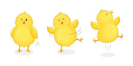 Cute little chicks jumping and dancing. Happy Easter day. Newborn chicks birds, cartoon character design. Illustration isolated on white background.