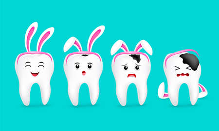 Cute cartoon tooth characters with rabbit ears decoration. Stages of caries development. Dental care concept. Happy Easter concept. illustration isolated on blue background. Standard-Bild - 120249714