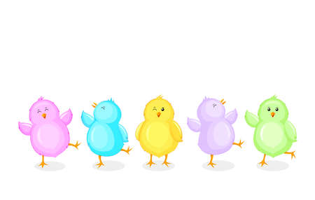 Little chicks cartoon set. Funny colorful chickens in different poses. Vector illustration isolated on white background.