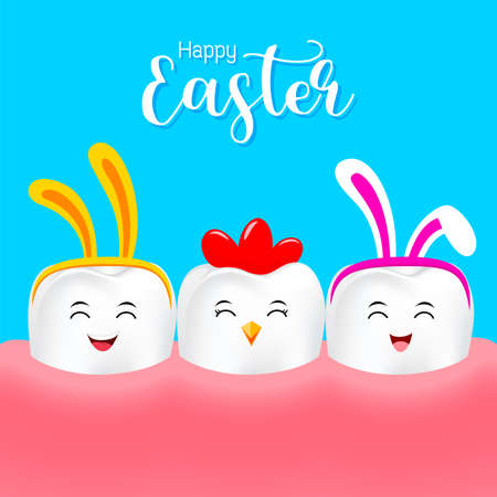 Cute cartoon tooth characters with rabbit ears decoration. Dental care concept. Happy Easter concept. illustration isolated on blue background.