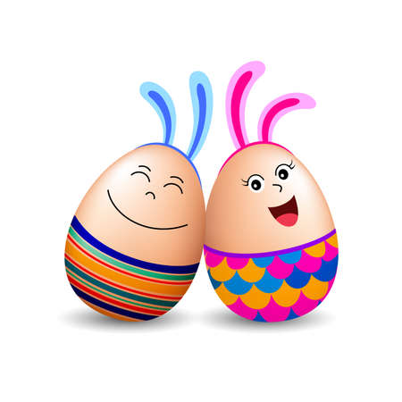 Funny egg characters with bunny ear. Easter holiday concept. Illustration isolated on white background. Vektoros illusztráció