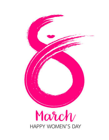 8 March, International Womens Day. Greeting card . Pink figure eight, brushstroke style. Vector illustration isolated on white background. Illustration