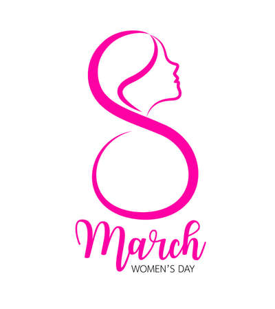 Eight march and female face icon design. International womens day concept. Vector illustration isolated on white background.