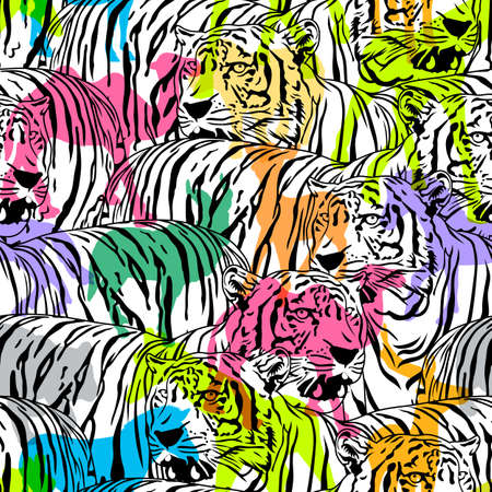 Tiger with colorful silhouette wildlife animals, seamless pattern. Wild animal design trendy fabric texture, illustration. Ilustração