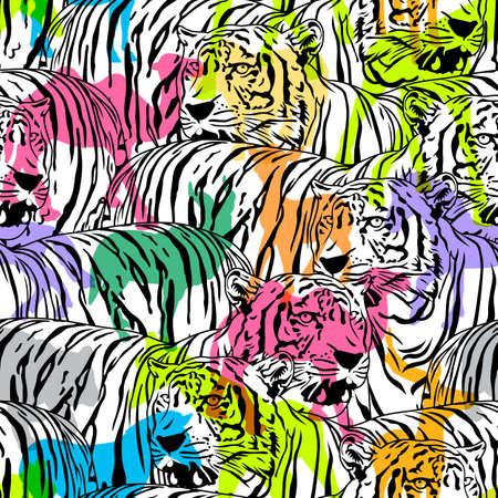 Tigre con animales de vida silvestre colorida silueta, patrones sin fisuras. Diseño de animales salvajes textura de la tela de moda, ilustración. Ilustración de vector
