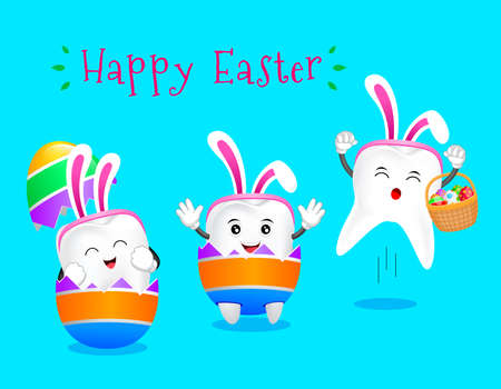 Cute cartoon bunny tooth cracking from egg shell. Easter egg hunt poster invitation template. Vector illustration isolated on blue background.