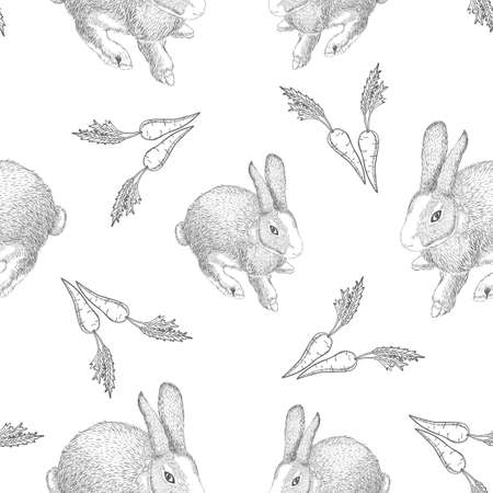 hand drawn hares with carrots. Animal seamless pattern. Illustration on white background.