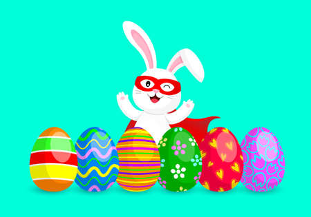 Funny cartoon, super hero rabbit with Easter eggs. Cute bunny in funny costume, mask and cape. Vector illustration isolated on blue background. Illustration