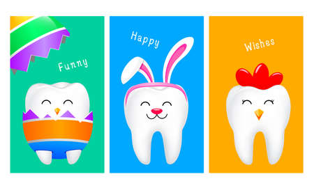 Cute cartoon tooth characters in Easter concept. Rabbit tooth, hen tooth and chick inside a cracked egg. Vector illustration.