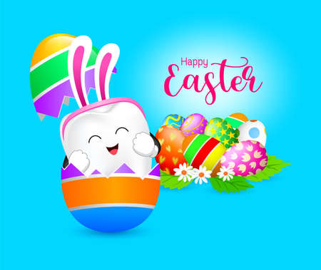 Funny rabbit tooth characters inside a cracked egg. Happy Easter concept. Vector illustration isolated on blue background.