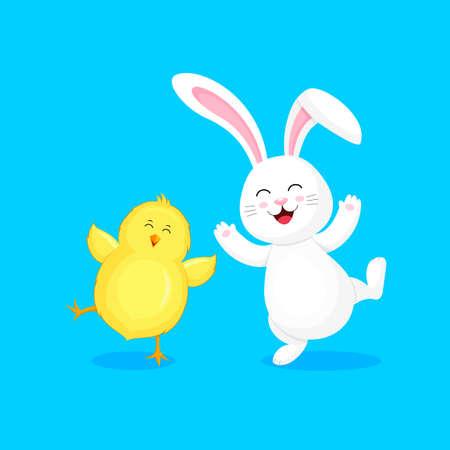 Lapin blanc sautant et dansant avec un petit poussin. Conception de personnage de dessin animé. Concept de vacances de Pâques. Illustration vectorielle isolée sur fond bleu.