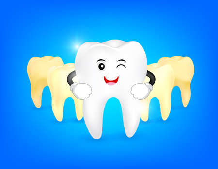 Cute cartoon tooth character whitening. Step of yellow to white. Dental care concept, illustration isolated on blue background. Ilustracja
