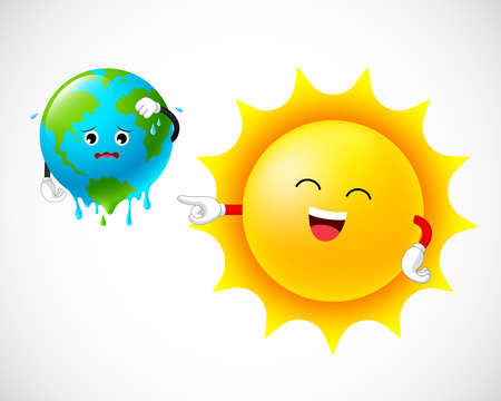 Stop global warming. Globe character with sun. Graphic of a melting earth. Illustration isolated on white background.  イラスト・ベクター素材