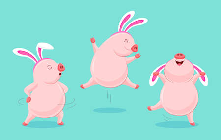 Set of funny cute cartoon pig dancing with rabbit ear. Easter holiday concept. Character design. Vector illustration isolated blue background.