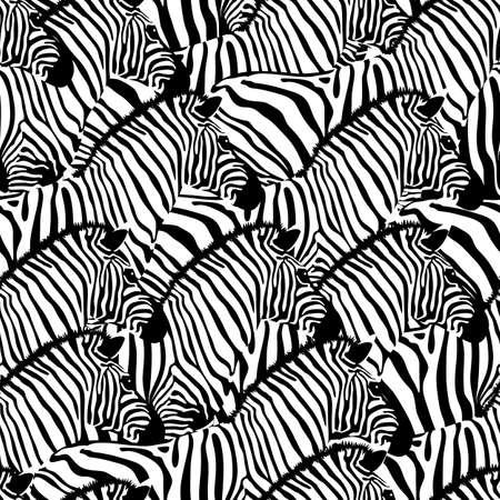 Patrón sin costuras de cebra, estilo inverso. Textura de animales salvajes. Rayas en blanco y negro. diseño de textura de tela de moda, ilustración vectorial. Ilustración de vector