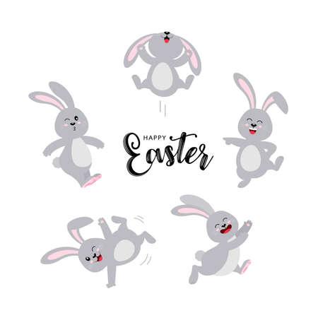Satz graue Kaninchen in unterschiedlicher Pose. Frohes Osterkonzept. Lustiges Cartoon-Charakter-Design. Vektorillustration lokalisiert auf weißem Hintergrund.