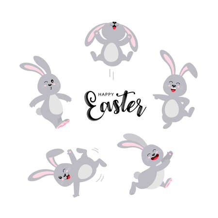 Set of gray rabbits in different pose. Happy Easter day concept. Funny cartoon character design. Vector illustration isolated on white background.