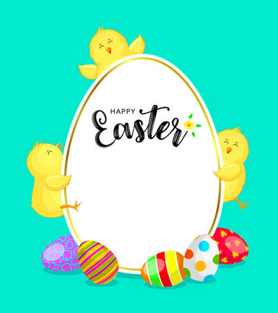 Easter banner oval template with colorful eggs and little chicks. cute cartoon character design. Illustration on green background. Illustration
