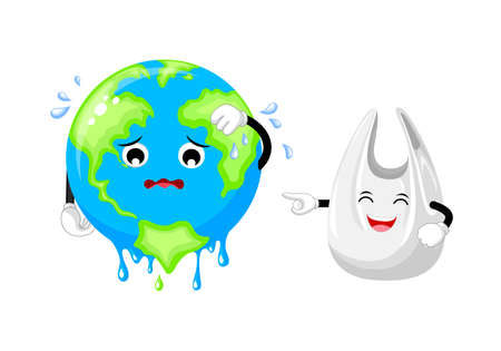 Sadness cartoon globe character and plastic bag. Global warming concept. Planet earth character melted. Illustration isolated on white background. Illustration