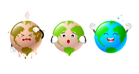Poorly globe character change to bright world. Global warming concept. Ecological clean planet against pollution environmental. Illustration isolated on white background. Illustration