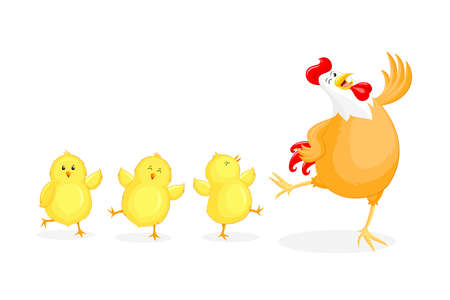 Cute cartoon hen and little chicks. Happy Easter day, cartoon character design. Vector illustration isolated on white background.