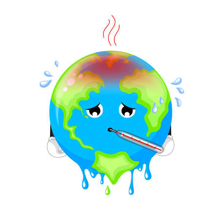 Poorly globe character with thermometer. Cartoon earth, global warming concept. illustration isolated on white background. Illustration