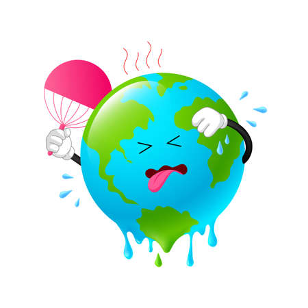 Melting planet earth character. Stop global warming concept. Illustration isolated on white background.
