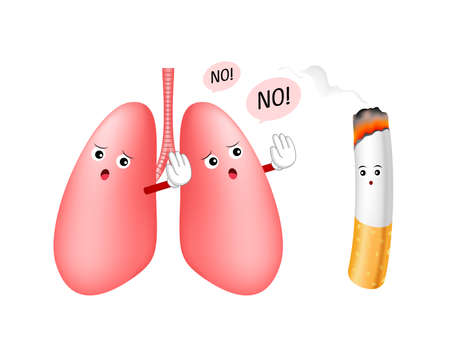 Cartoon lung character say no to cigarette. Smoking is harmful to human lung. Resulting in organ damage and premature. World No Tobacco Day.