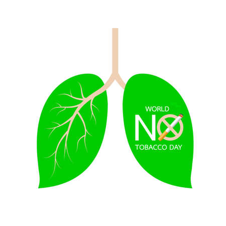 Leaves designed like human lung. Stop smoking, world no tobacco day concept. Vector illustration isolated on white background.