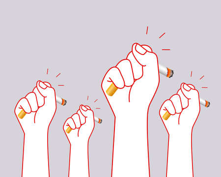 Human hands crushing cigarette. Quitting smoking concept.  World No Tobacco Day. illustration isolated on gray background.