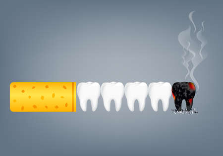 Stop smoking, World no tobacco day. Smoking is harmful to human teeth. Resulting in organ damage and premature. Illustration. Иллюстрация