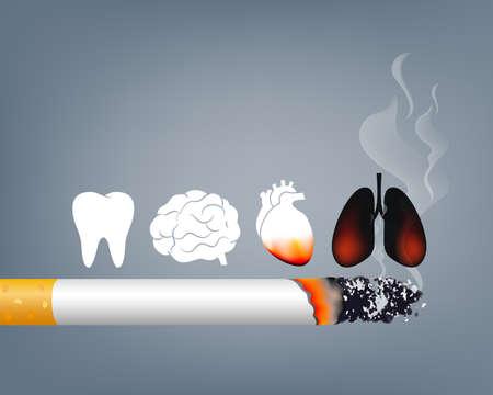 Arrêtez de fumer, Journée mondiale sans tabac. Le tabagisme est nocif pour les organes humains. Entraînant des dommages aux organes et prématurés. Illustration.