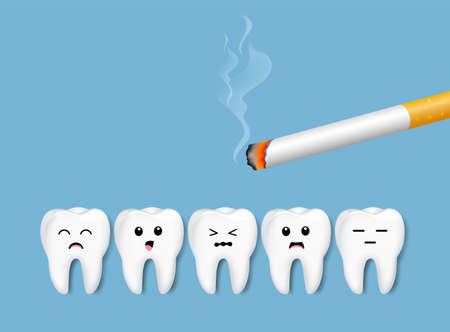Teeth with cigarette. Smoking effect on human teeth. Dental care concept. Stop smoking, World No Tobacco Day. Illustration on blue background. Standard-Bild - 123026009