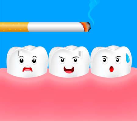 Dents avec cigarette. Effet du tabagisme sur les dents humaines. Concept de soins dentaires. Arrêtez de fumer, Journée mondiale sans tabac. Illustration sur fond bleu.