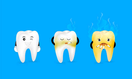 Cute cartoon tooth character smoking before and after. Smoking effect on human teeth. Dental care concept. Stop smoking, World No Tobacco Day. Illustration on blue background.