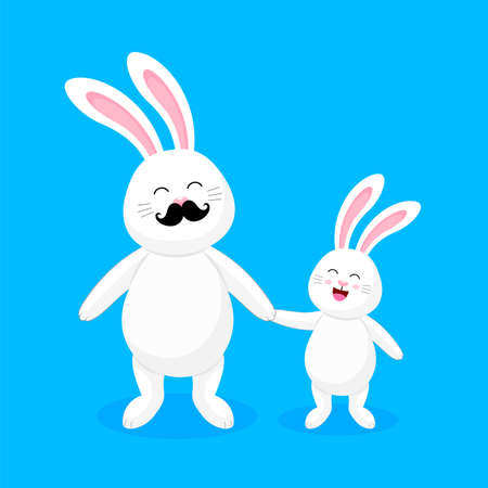 White rabbit dad and child. Happy fathers day. Cute cartoon character design. Vector illustration isolated on blue background.