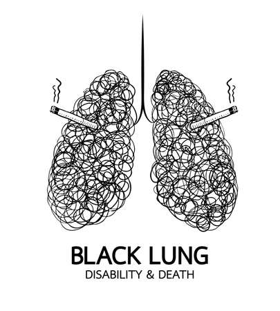Stop smoking, Black lung concept. World no tobacco day. Smoking is harmful to human lung. Resulting in organ damage and premature. Illustration.